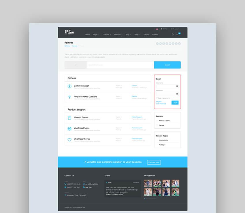 Vilan Corporate Shop  Forum WordPress Theme