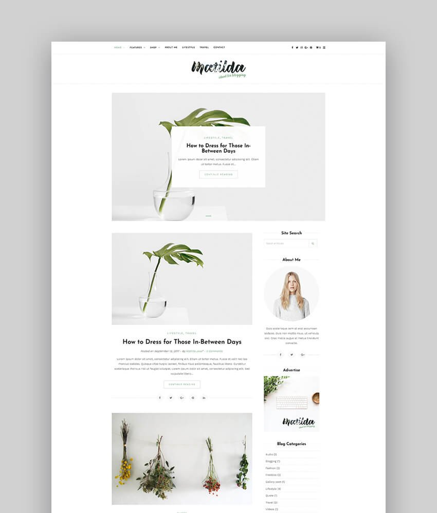 Matilda  Lifestyle Minimal WordPress Blog Theme