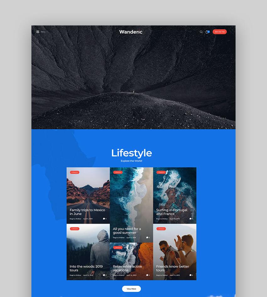 Wanderic - Travel Blog  Lifestyle WordPress Theme
