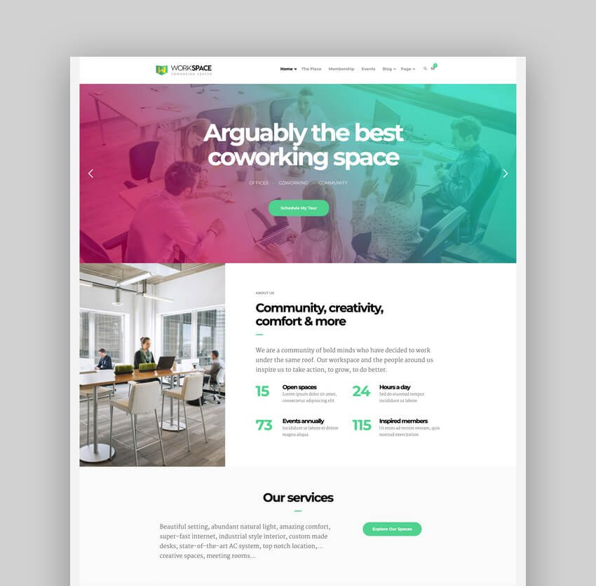 Workspace - Creative Office Space WordPress Theme