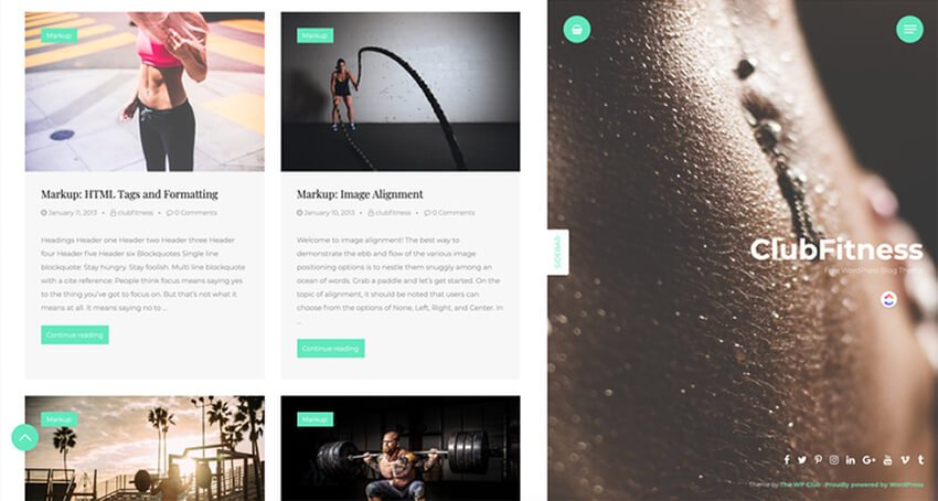 ClubFitness - WordPress theme