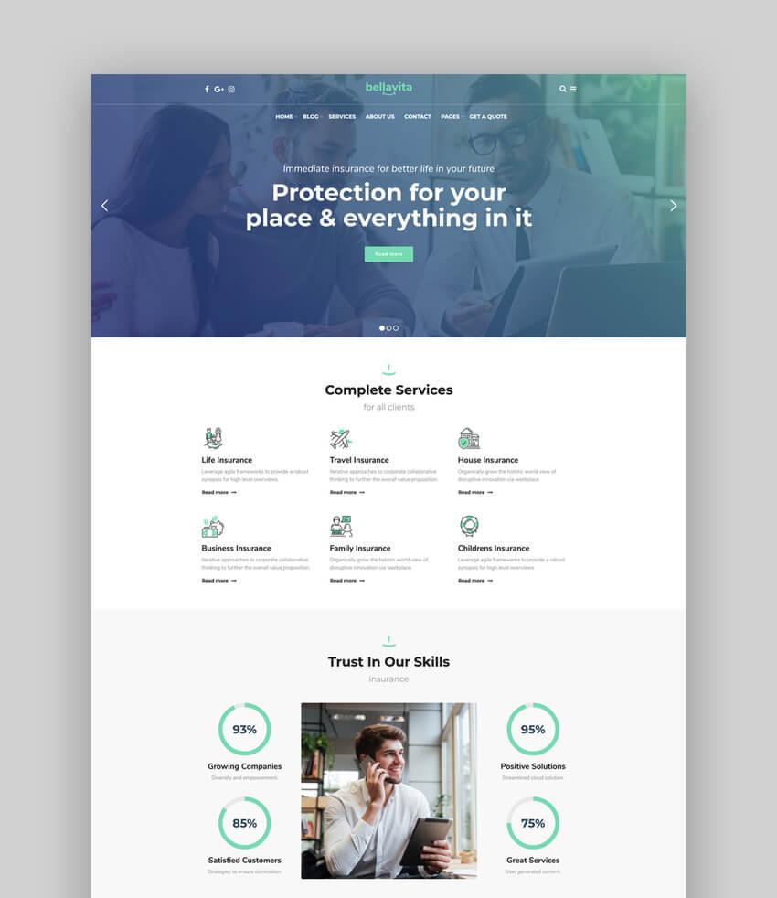 Bellavita - Insurance  Finance WordPress Theme