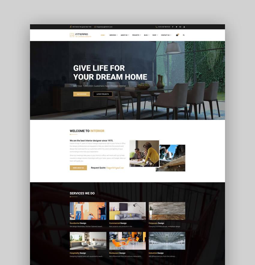 Interrio WordPress Theme for Architecture and Interior Design