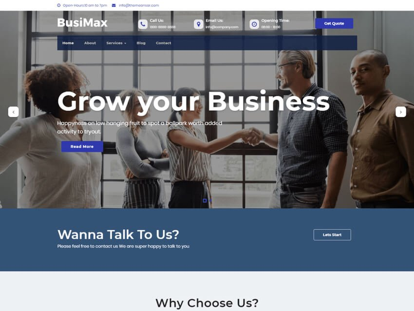 BusiMax - Free WordPress Theme For Accountants