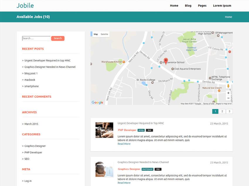 Jobile - Free WordPress Theme For Job Classifieds Websites