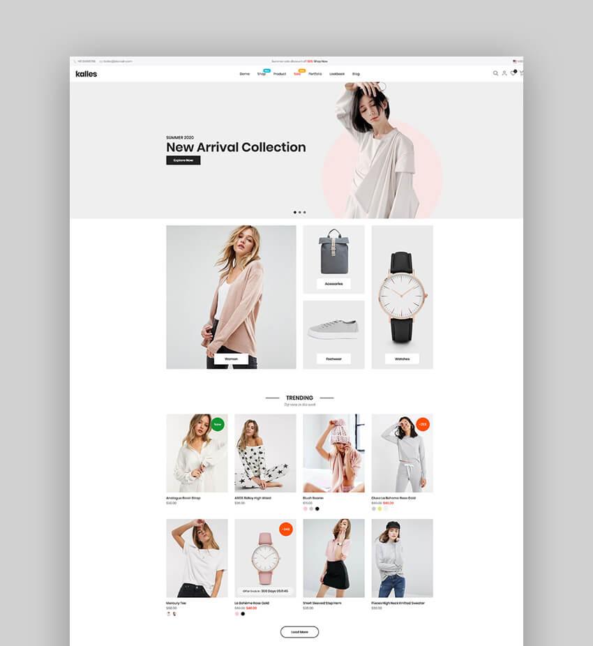 Kalles - Tema de Shopify limpio, versátil y responsive para sitios de dropshipping