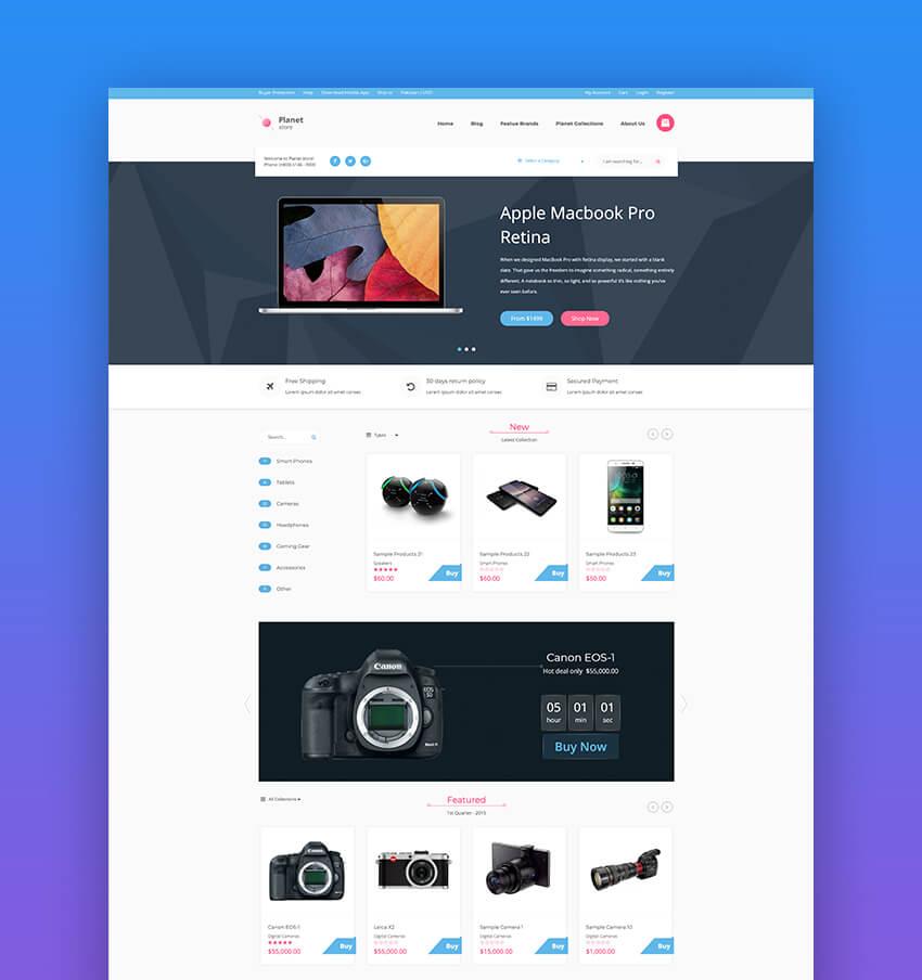 Planet Tech Store - Tema Shopify de e-commerce para dropshipping