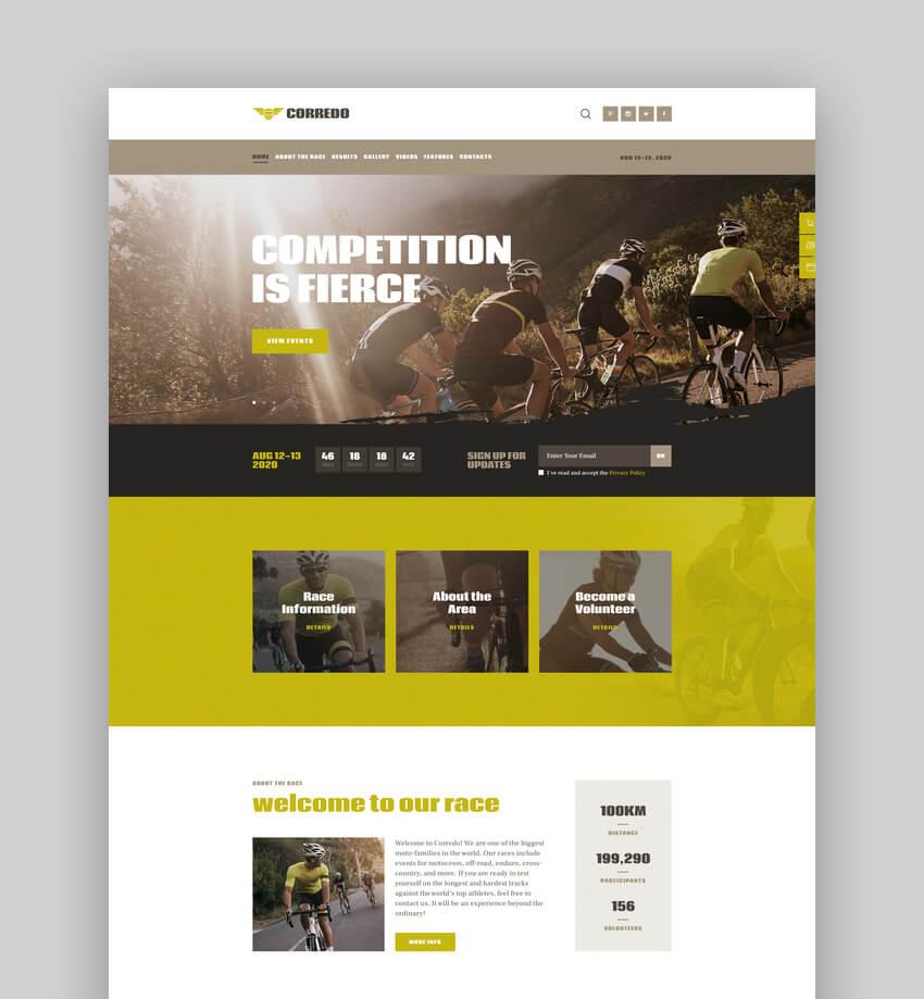 Corredo  CrossFit  Sports Events WordPress Theme