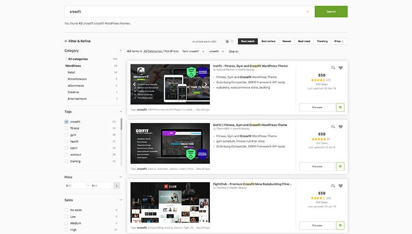 CrossFit templates on ThemeForest