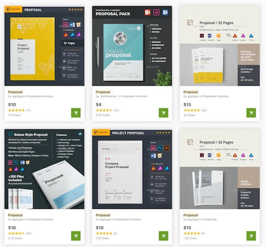 Business project proposal templates on GraphicRiver