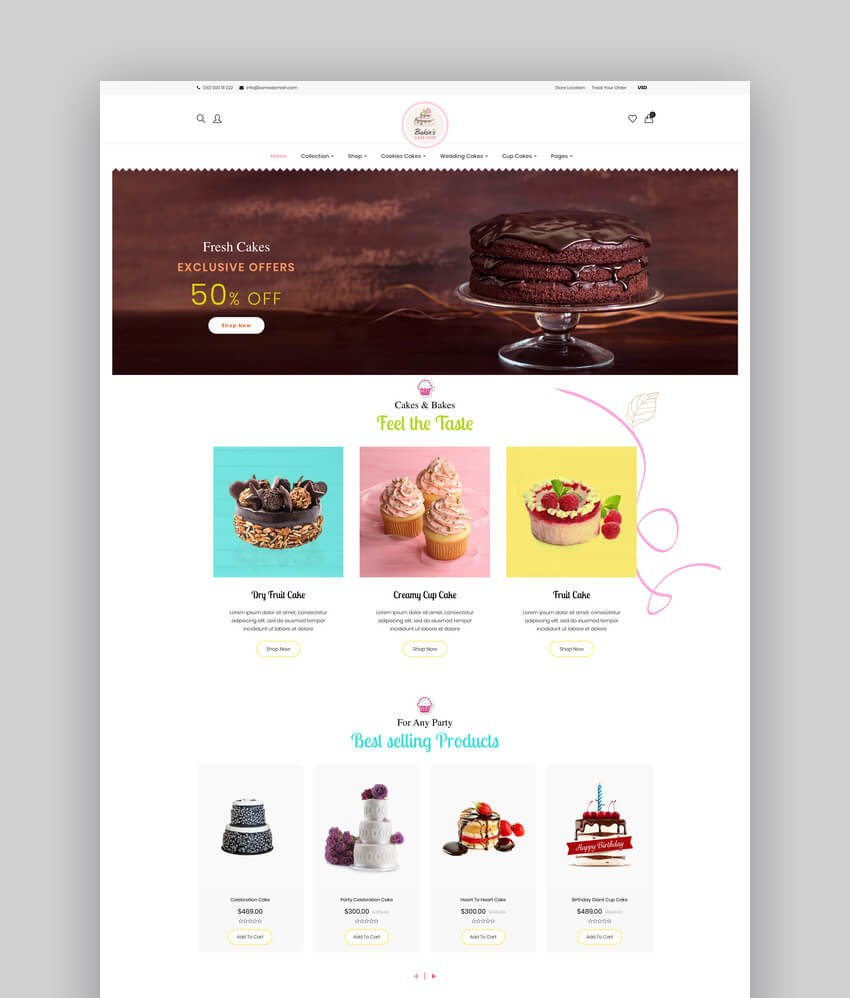 Bakins  Shopify Cake Shop Bakery Theme For Single Product Stores