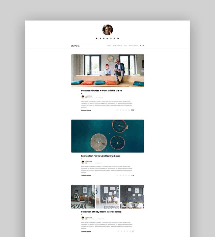Alia - Minimal Personal WordPress Blog