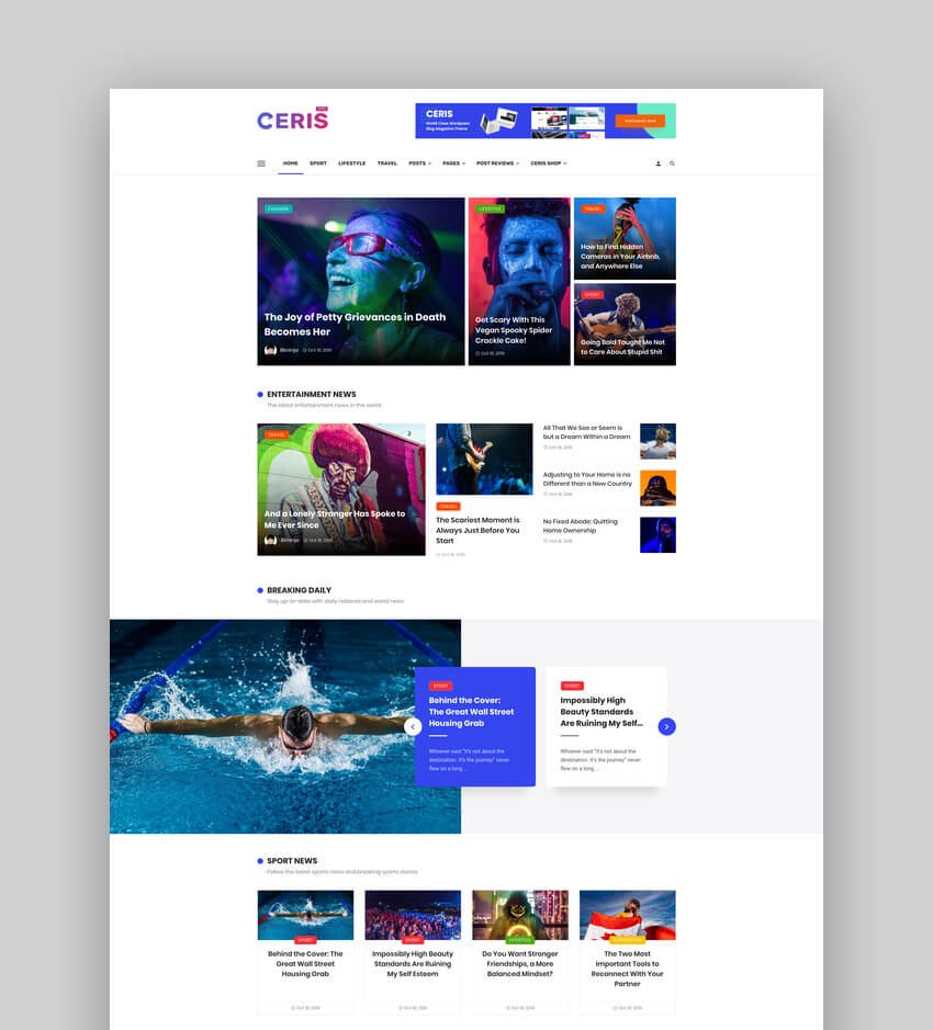 Ceris - Magazine  Blog WordPress Theme