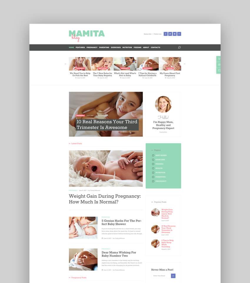 Mamita  Pregnancy and Family WordPress Blog Theme