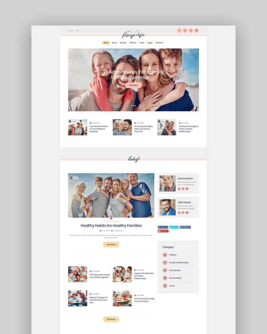 Modern Housewife  Women  Family WordPress Blog Theme