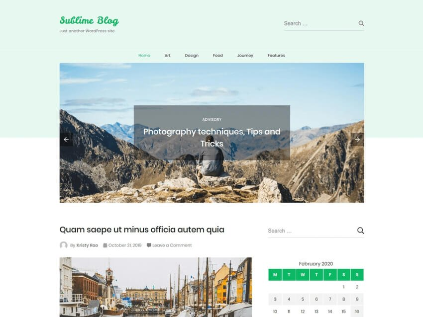 Sublime Blog - Free WordPress Family Blog Theme