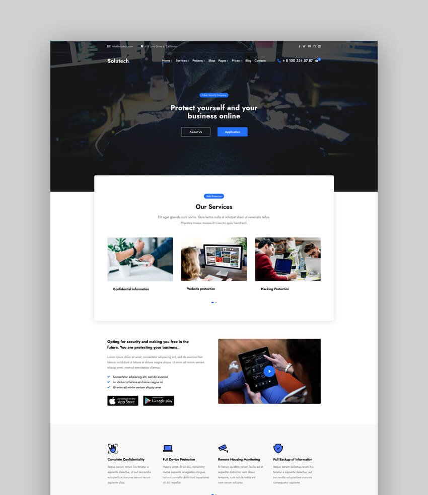 Solutech - Security  CCTV WordPress Theme