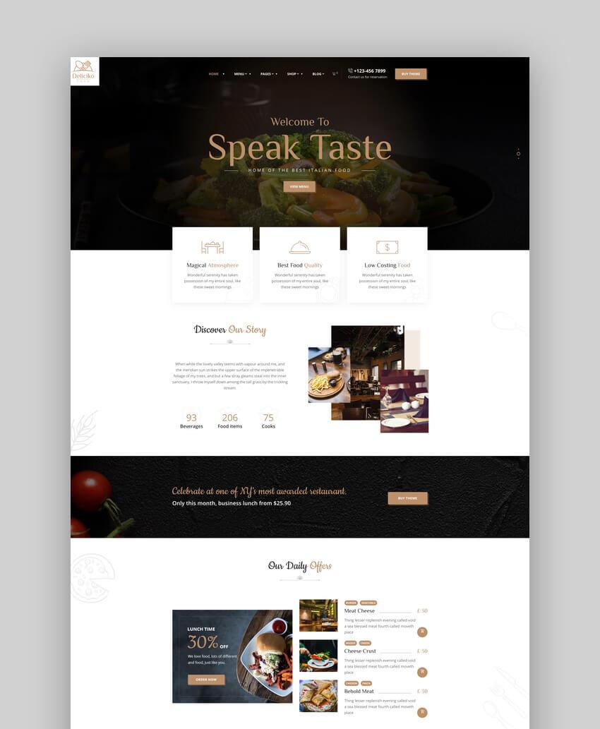 Deliciko - Restaurant WordPress Theme