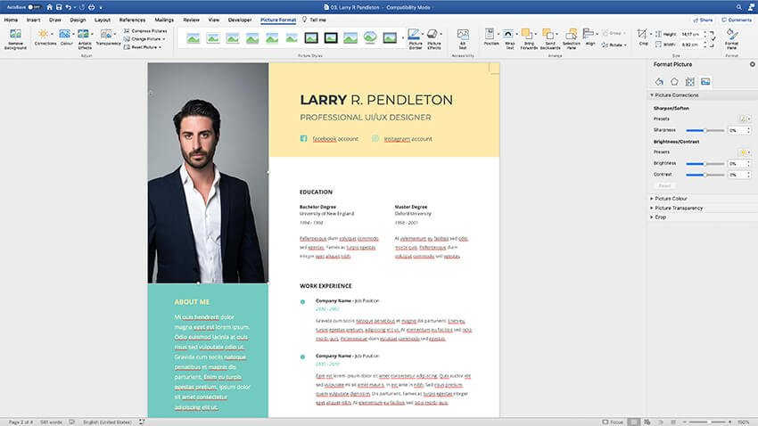 Adding a photo to the CV Resume template