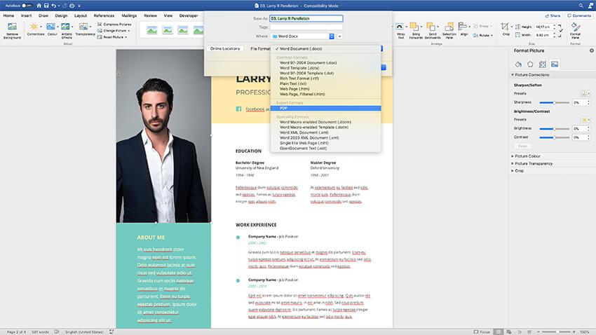 Export your resume