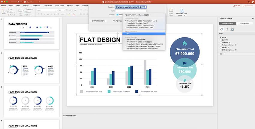 Saving and exporting chart data