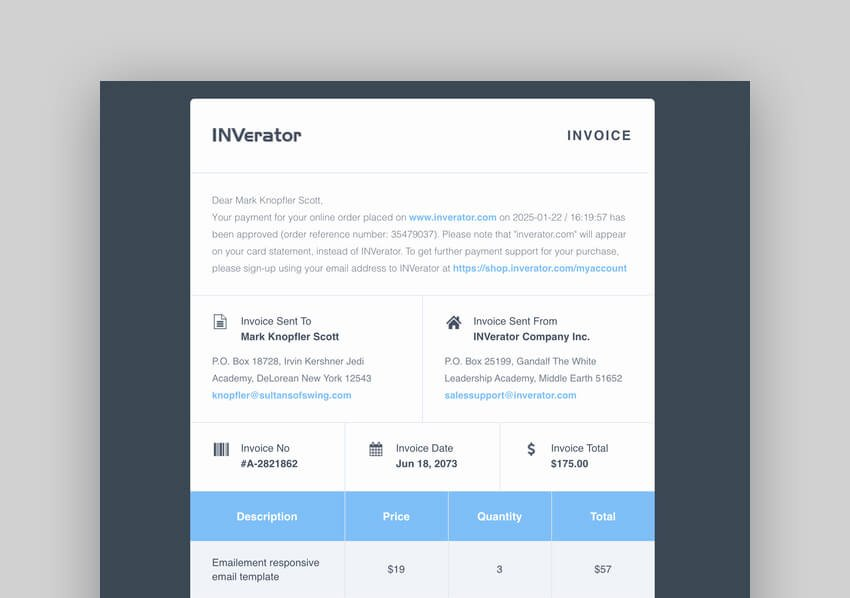 Invoice Template  Receipt Email For Mailchimp