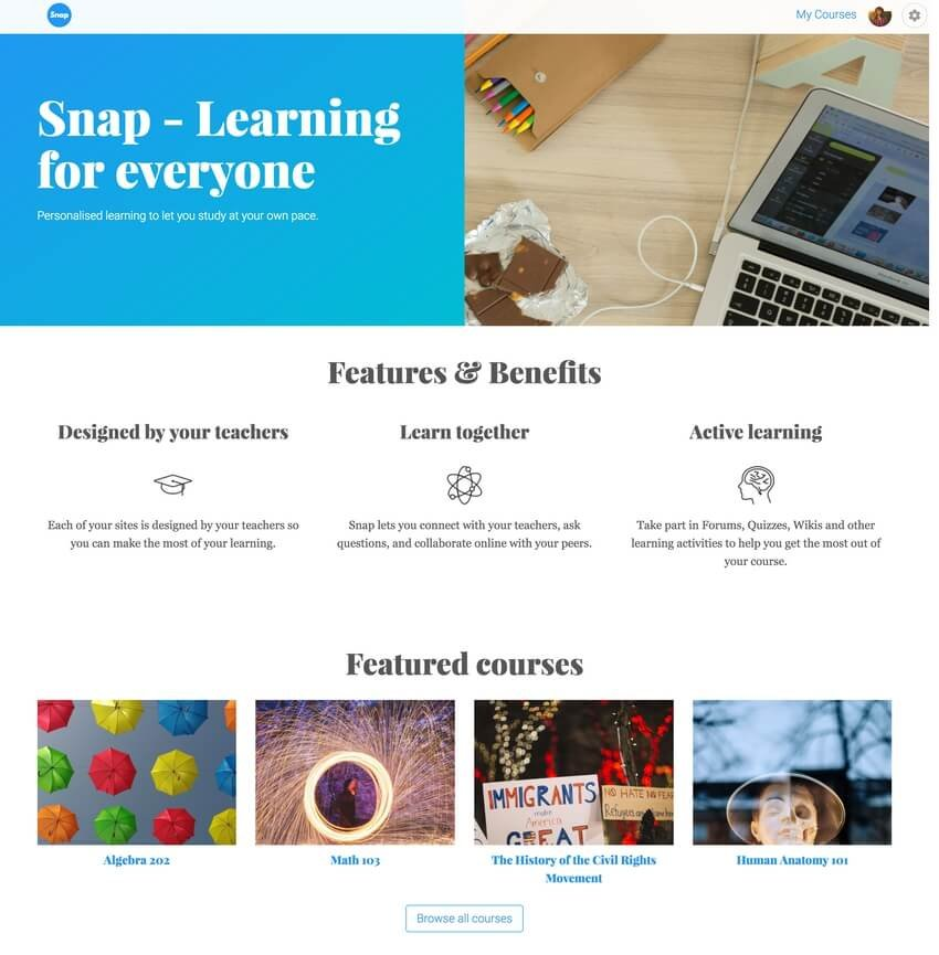 Snap Free University Website Theme For Moodle