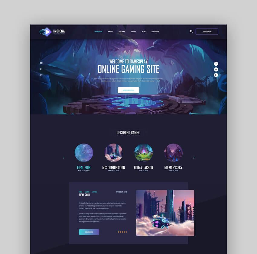 Indiega - Gaming HTML Template