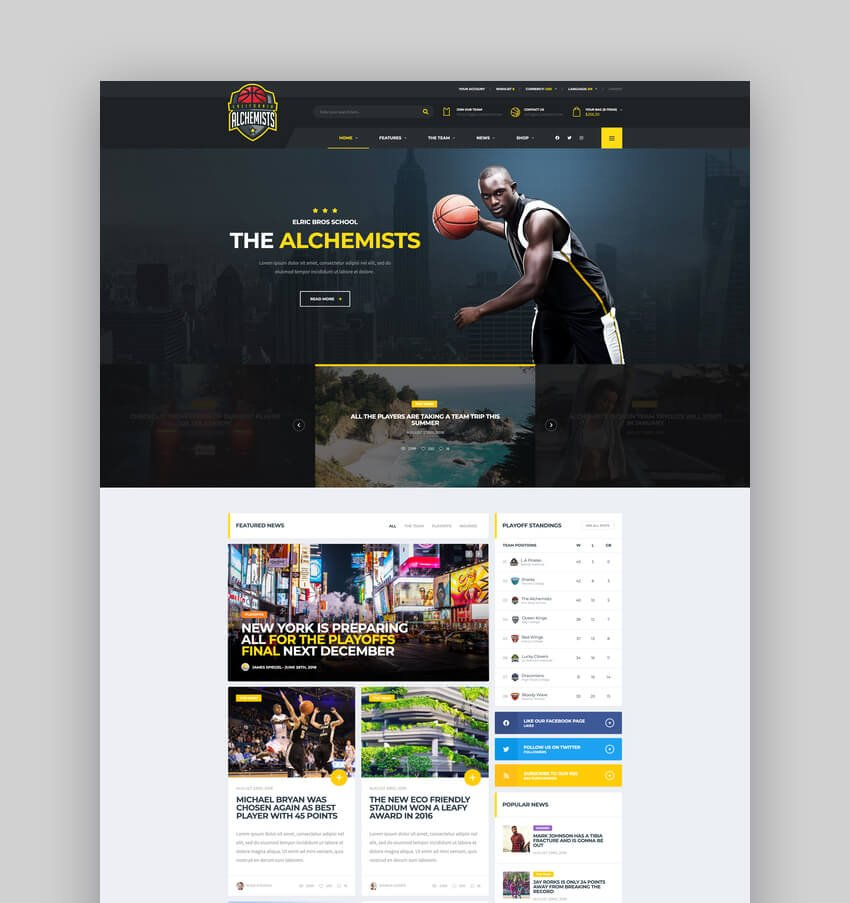 Alchemists - Sports eSports Gaming Club and News HTML Template
