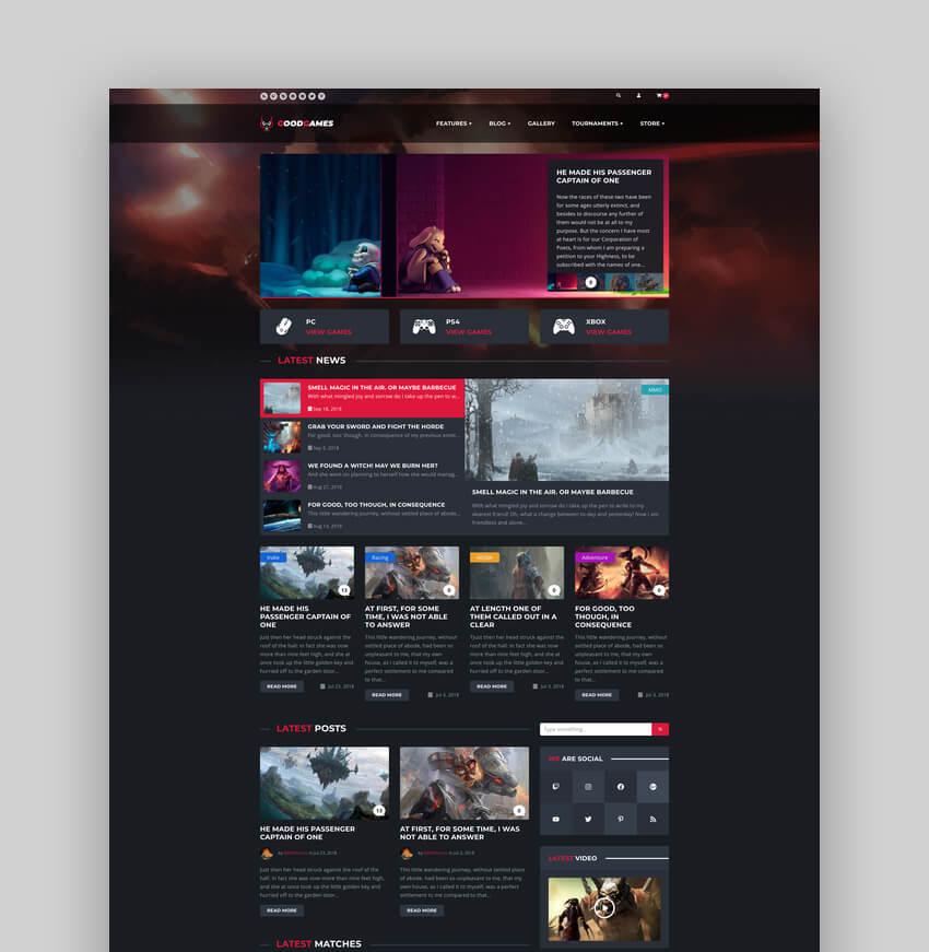 Good Games - eSports Magazine Gaming Website Template