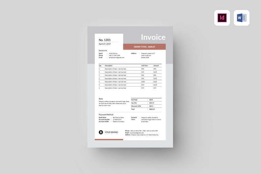 Microsoft Office Word Invoice template