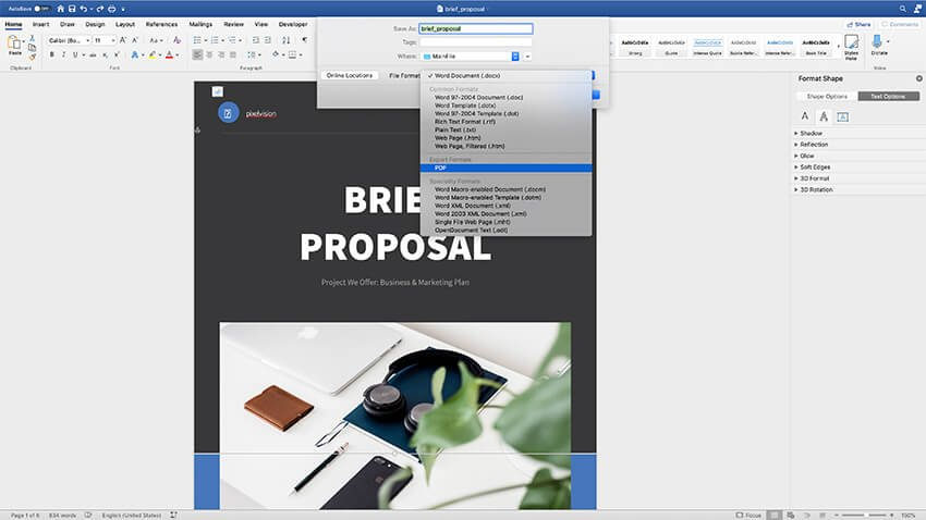 Export the proposal