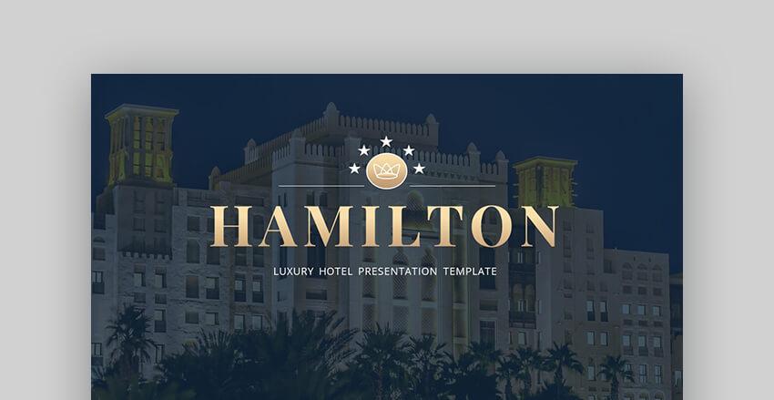Hamilton Luxury Hotel Real Estate PowerPoint Template
