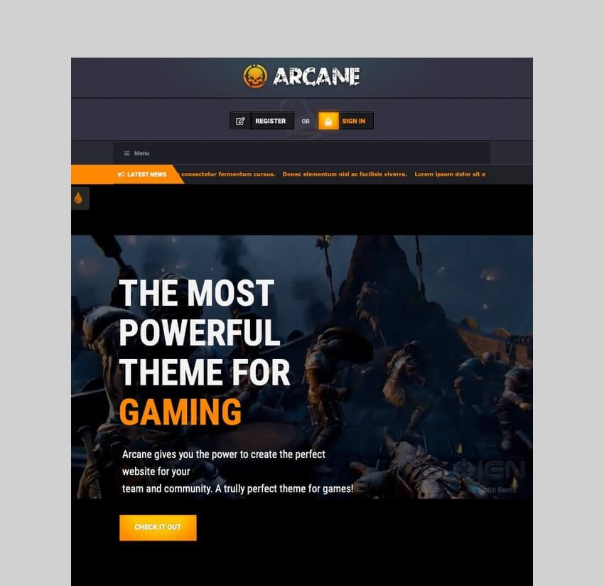 Arcane - Gaming Community WordPress Theme