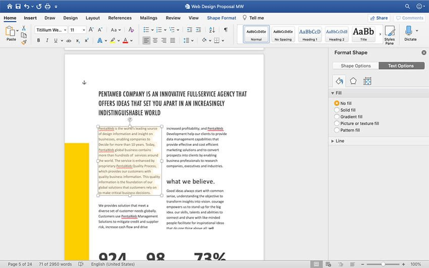 Adding content to the Web Design Proposal template
