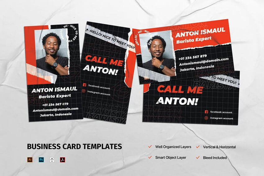 Vertical Layout Business Card