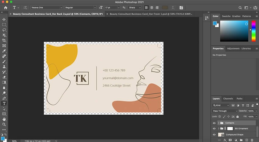 Customizing the back of the Business Card template