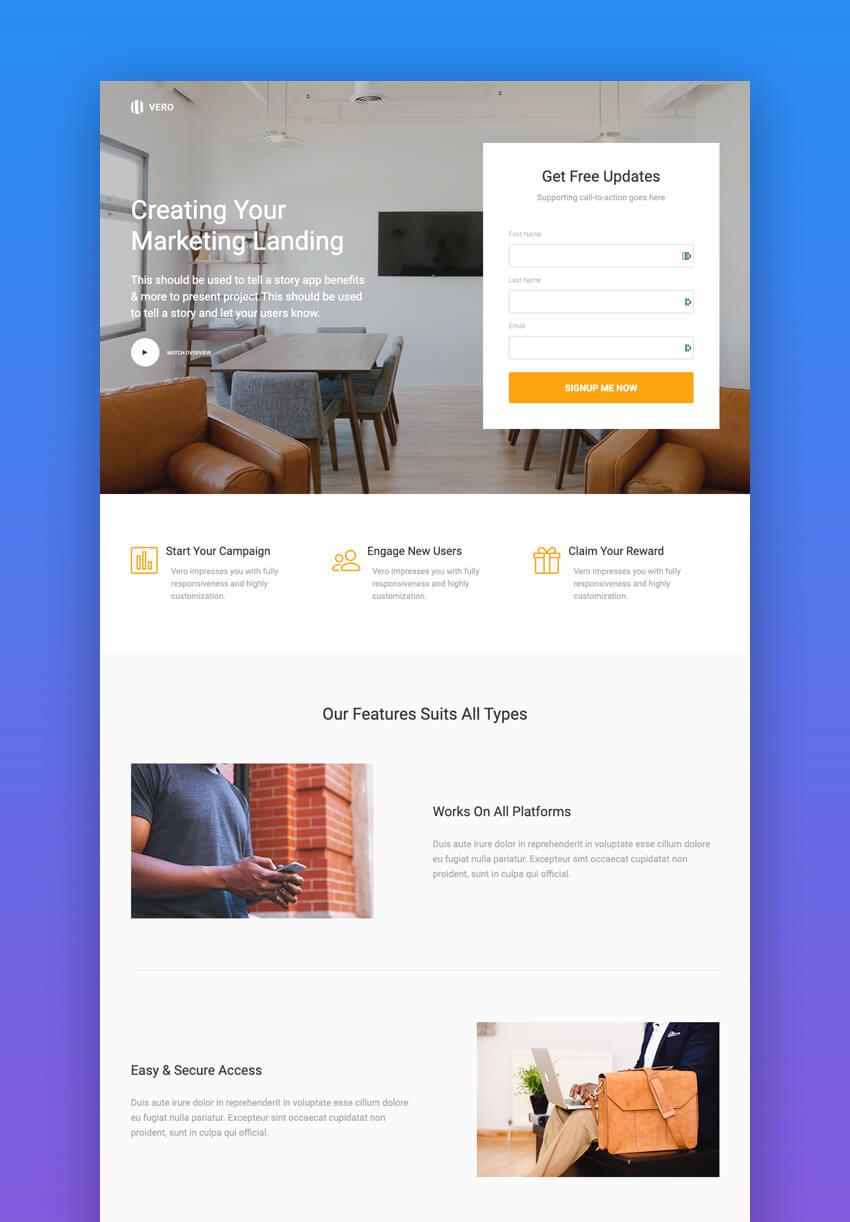 Vero Modern Marketing landing page design