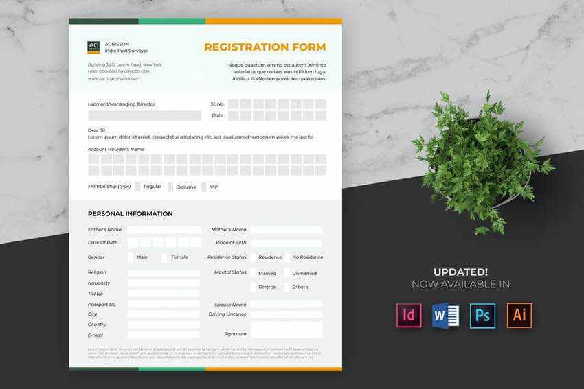 Print Registration Form Template
