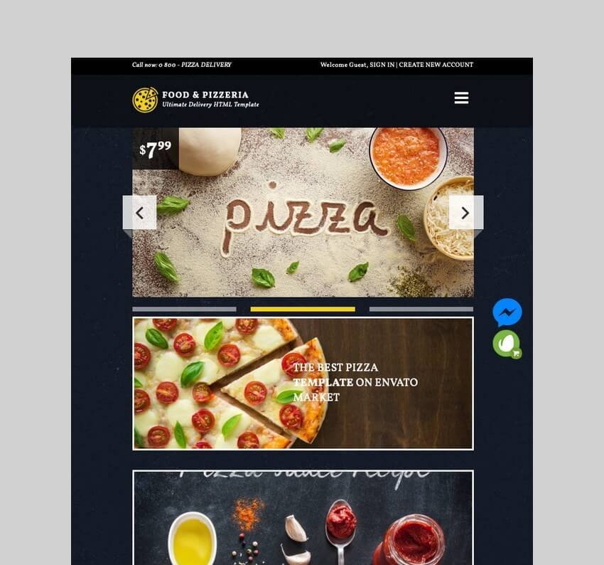 Food and Pizzeria delivery WordPress theme