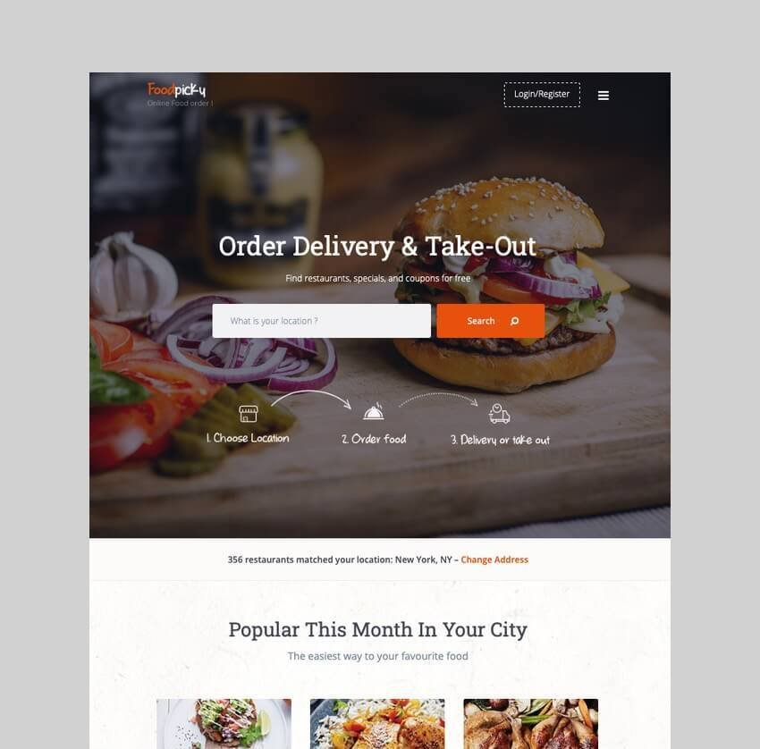 FoodPicky food delivery WordPress theme