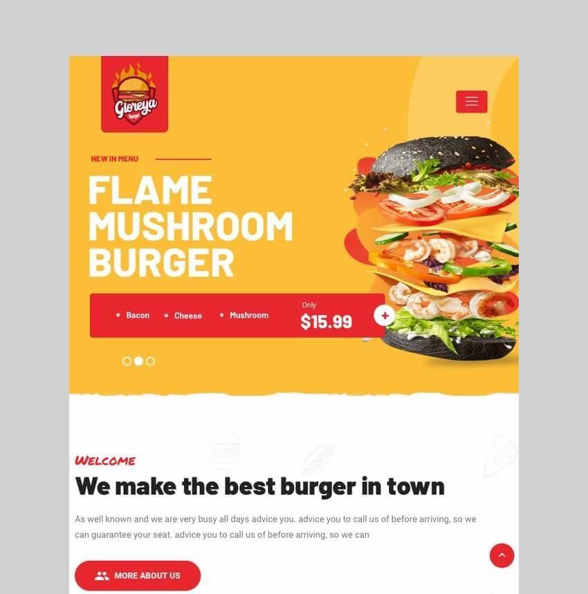 Gloreya fast food and delivery WordPress theme