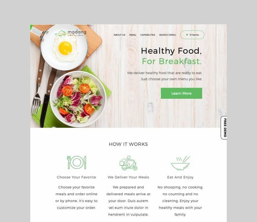 Madang healthy food delivery wordpress theme