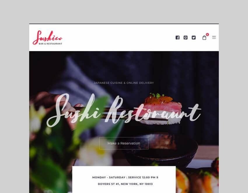 Sushico sushi restaurant theme