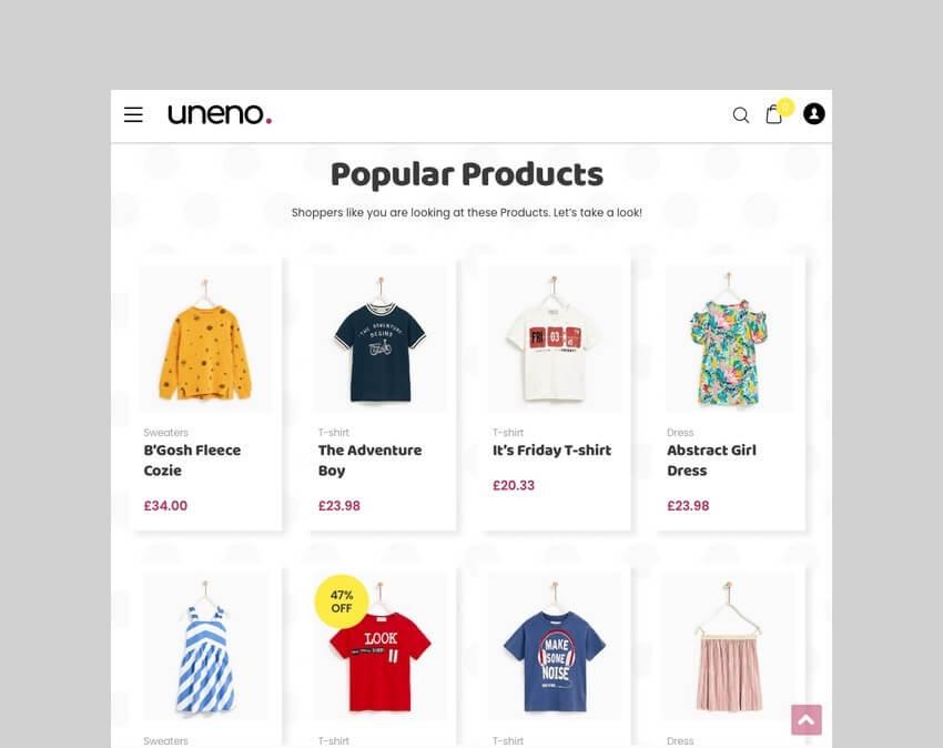 Uneno Kids Clothing WordPress Theme