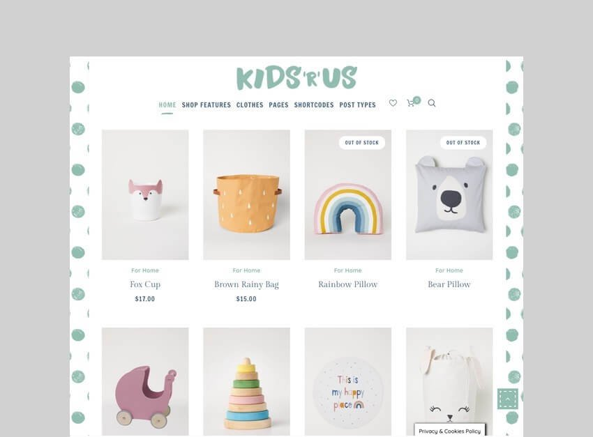 kids r us toy store woocommerce theme