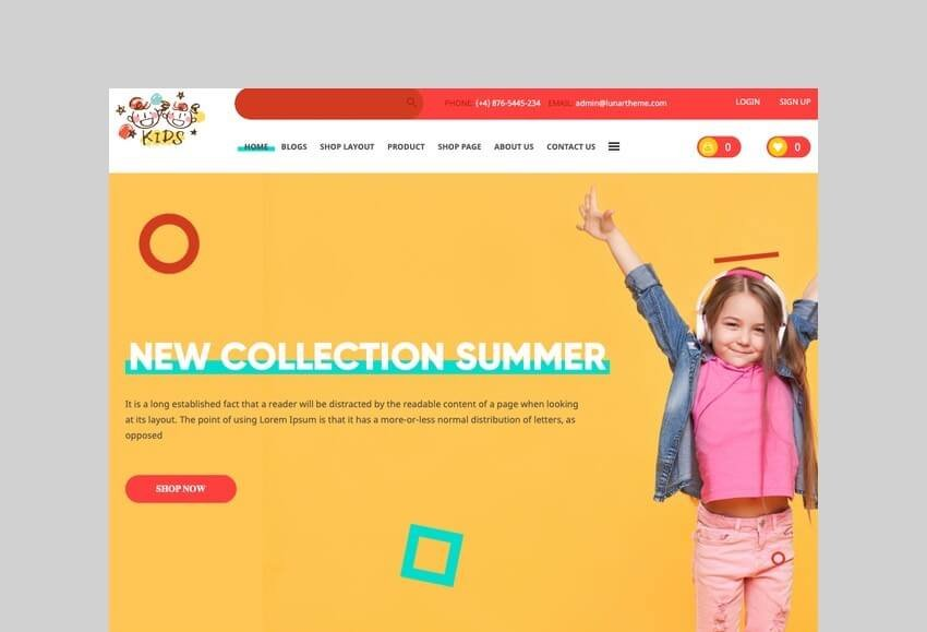 kids baby shop ecommerce wordpress theme