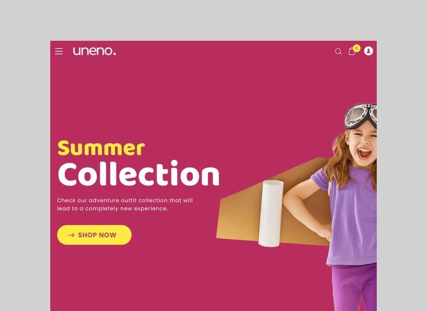 Uneno kids clothing WooCommerce theme