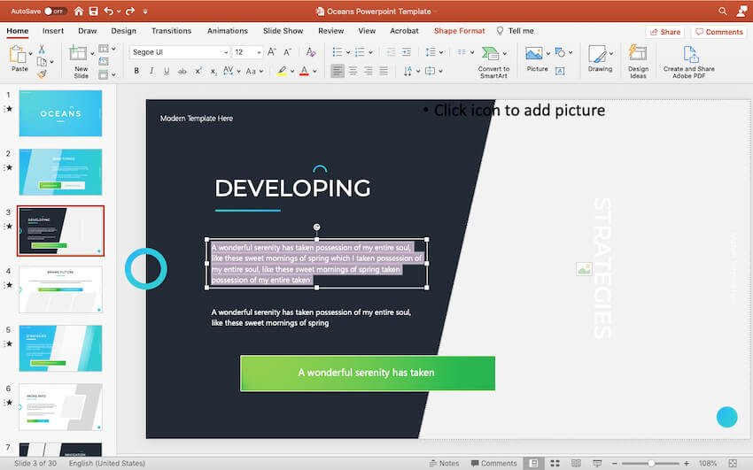 Customizing content of the Oceans PowerPoint template