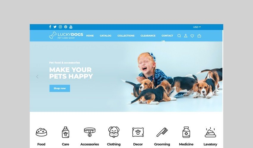 LuckyDogs - Pet Care Shopify Theme